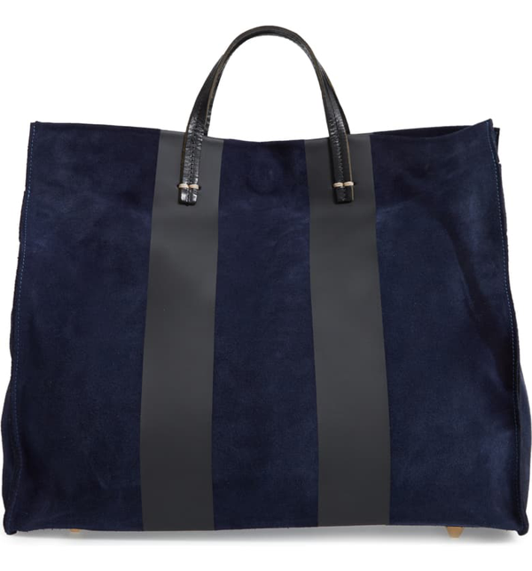 Clare V Simple Stripe Leather Tote In Navy Suede Stripe