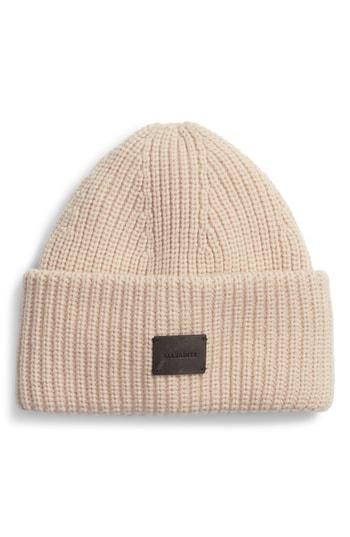 2ab6ea4e526 Allsaints Half Cardigan Stitch Beanie - Pink In Nude Pink
