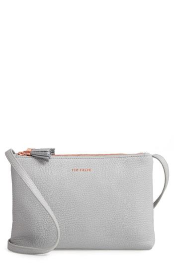 8e50007fece Ted Baker Maceyy Double Zip Leather Crossbody Bag - Grey | ModeSens