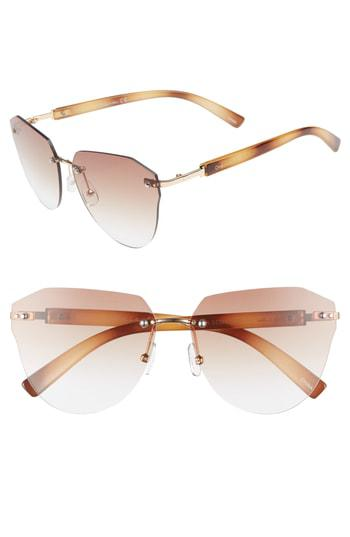 ab01ac6805 60Mm Rimless Cat Eye Sunglasses - Gold/ Rose Brown Lens