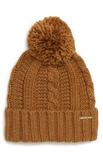 3eaf06706a Michael Michael Kors Cable Knit Hat - Brown In Dark Camel  Gold ...