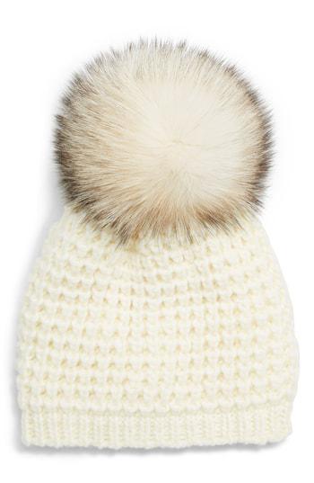 ee9f3f67919 Kyi Kyi Genuine Fox Pompom Hat - Ivory In Ivory  Silver Fox Pom. Nordstrom