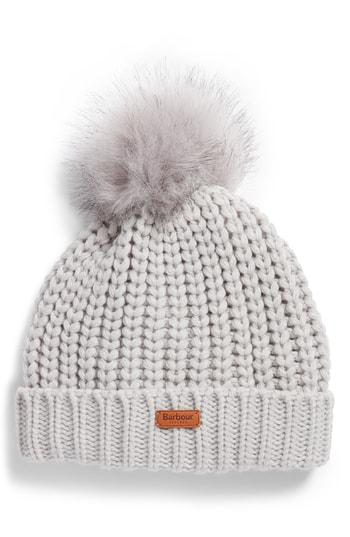 273d4cef4cea3 Barbour Saltburn Beanie With Faux Fur Pom - White In Ice White ...