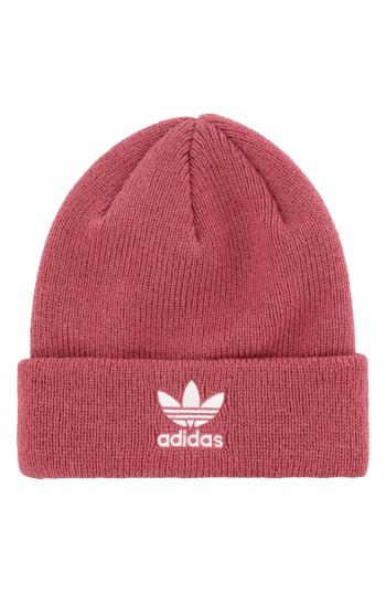 timeless design 091a8 3a126 Adidas Originals Adidas Trefoil Beanie - Red In Trace Maroon Pink  White