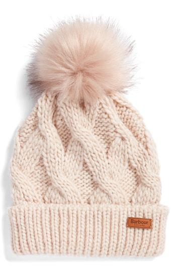 fb27ef96fac5d Barbour Bridport Faux Fur Pom-Pom Cable-Knit Beanie In Pink