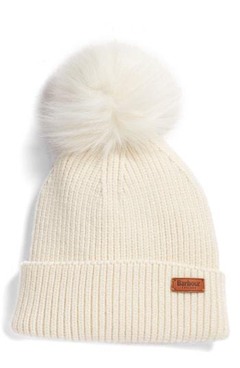 23c4c2f12d7 Barbour Dover Faux Fur Pom-Pom Rib-Knit Beanie In Cream