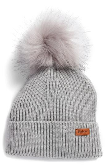 Barbour Dover Faux Fur Pom-Pom Rib-Knit Beanie In Grey  0e439d697a3