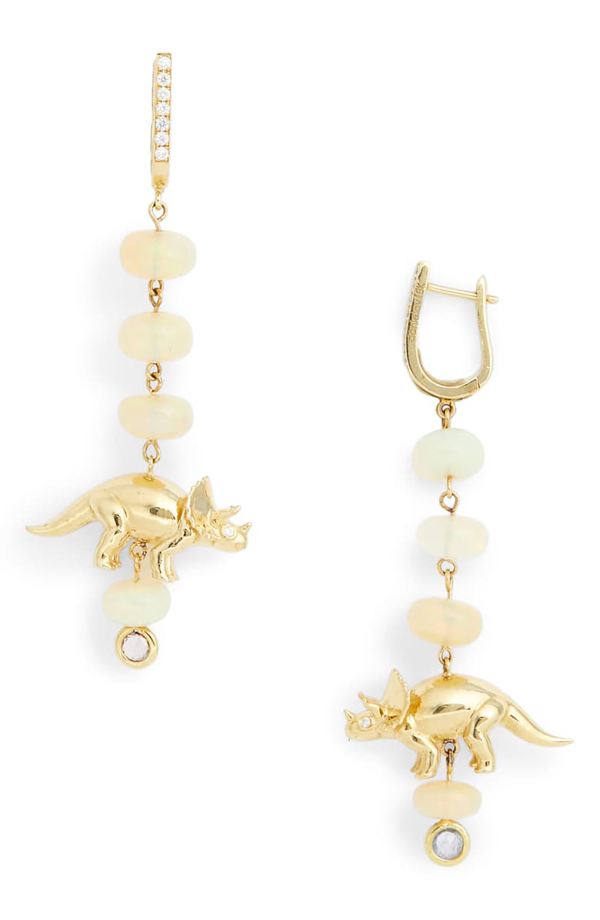 Daniela Villegas X Jurassic Park 25th Anniversary Sweet Triceratops Drop Earrings In Yellow Gold