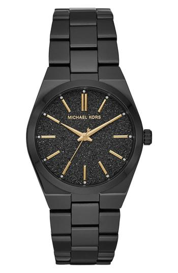 a5f1e77a5190 Michael Kors Channing Black Glitter Dial Watch