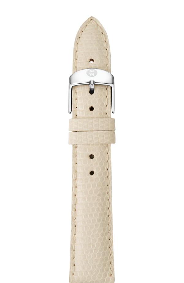 Michele Lizard-embossed Leather Strap, 16-18mm In Vanilla