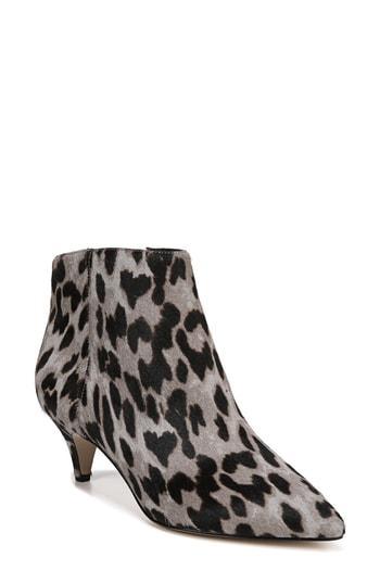 3840a003f0dfb Sam Edelman Kinzey Genuine Calf Hair Pointy Toe Bootie In Grey Leopard  Brahma Hair
