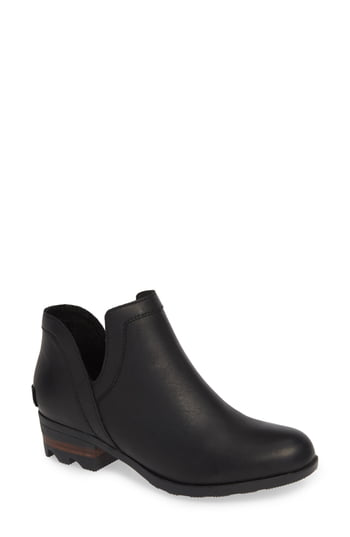 Sorel Lolla Waterproof Leather Booties In Black/ Black
