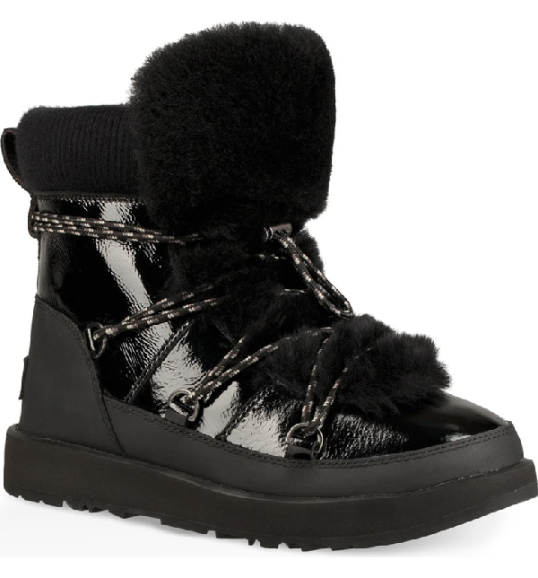 9fbe312cce7 Highland Waterproof Patent/Shearling Lace-Up Boots in Black Leather