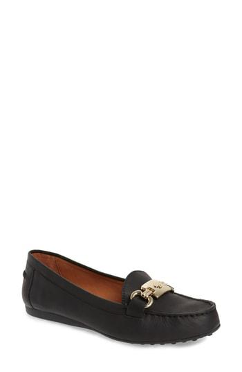 51b996c8c73 Polished logo hardware shines from the keeper of a moc-stitched loafer  grounded by nubbed driving treads. Style Name  Kate Spade New York Carson  Loafer ...