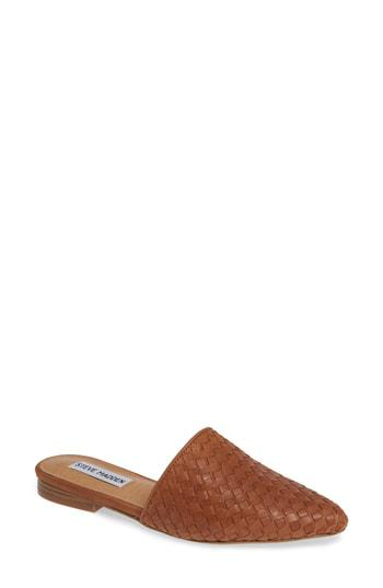92c9b5e6a8e Steve Madden Timid Woven Mule In Cognac Leather