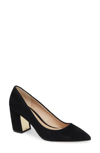 447ce95ba35 A metallic plate adds a touch of shine to the inner block heel of a  timeless pointy-toe pump. Style Name  Karl Lagerfeld Paris Addie Pump  (Women).