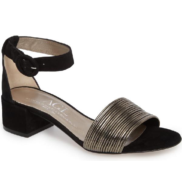 d3bb46cdc77 Agl Attilio Giusti Leombruni Ankle Strap Sandal In Black Suede ...