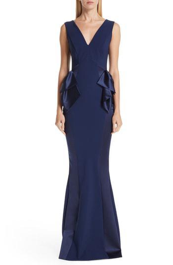 519d1e2a Chiara Boni La Petite Robe Macaria Satin Bow Trumpet Gown In Blue Notte
