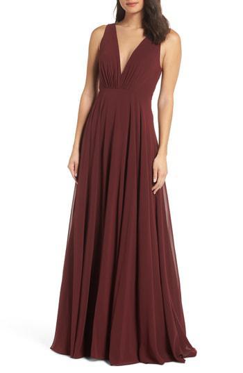 64cf2eceb530a Jenny Yoo Ryan Illusion Neck Chiffon Gown In Hibiscus | ModeSens