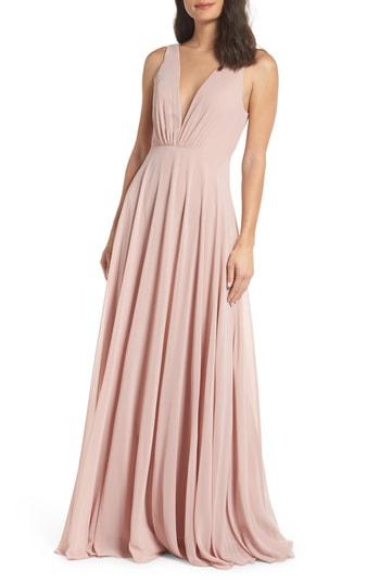 8dc2bdd3056 Jenny Yoo Ryan Illusion Neck Chiffon Gown In Whipped Apricot