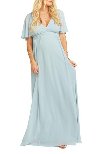 7b0248946323 Show Me Your Mumu Emily Maxi Dress In Steel Blue Chiffon | ModeSens
