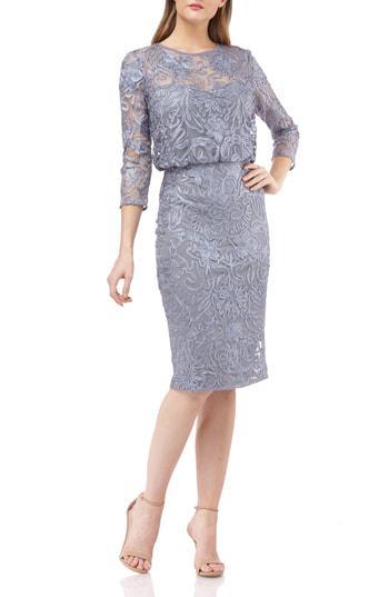 Soutache Embroidered Blouson Dress in Slate