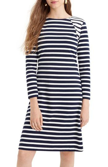 7c75b4fed7140c J.Crew 365 Stripe Knit Fit & Flare Dress In Navy Ivory | ModeSens