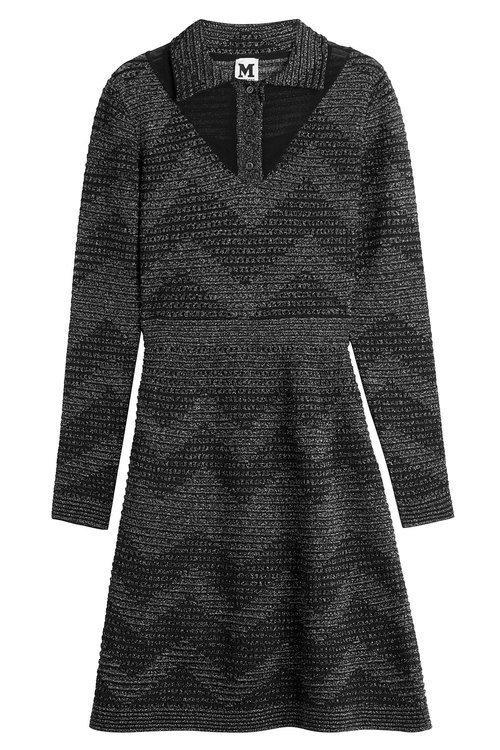 M Missoni Metallic Knit Dress In Black