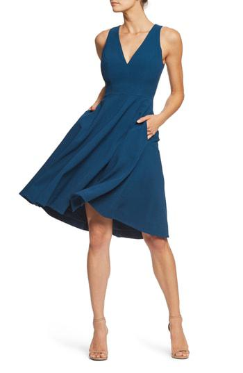 166df23a0f0a Dress The Population Catalina Tea Length Fit   Flare Dress In Peacock Blue