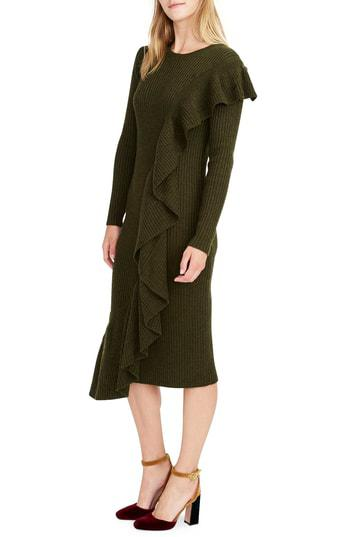 820730ca482 J.Crew Collection Ruffle-Front Sweater Dress In Heather Olive