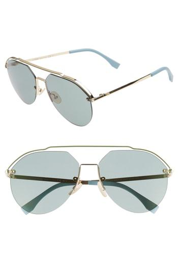 1281debe4bd Fendi 61Mm Aviator Sunglasses - Gold