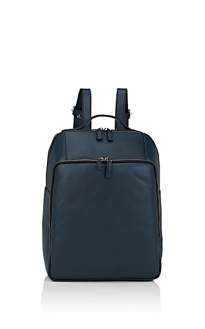 Barneys New York Leather Backpack - Navy