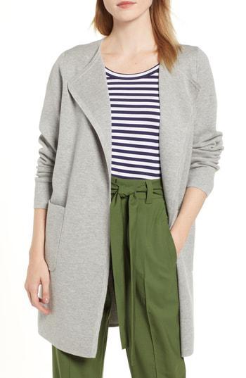 J.Crew Juliette Collarless Sweater Blazer In Heather Grey