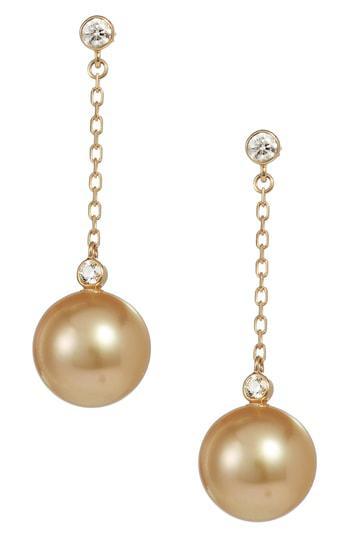Mikimoto South Sea Cultured Pearl Diamond Drop Earrings In Yellow Gold
