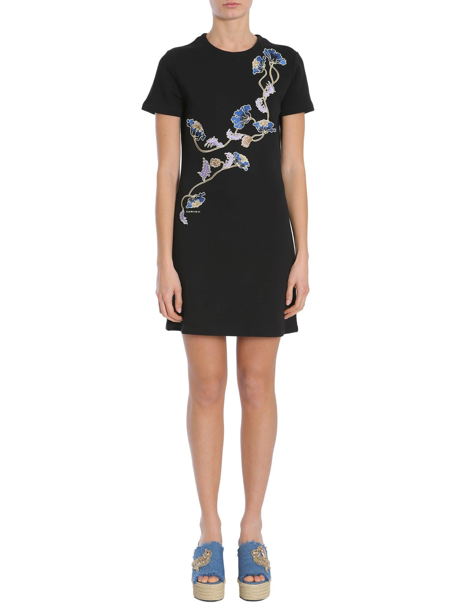 Carven Short Sleeve Dress In Nero