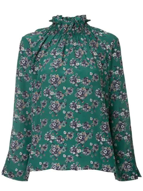 Teija Ruffle Neck Blouse In Green