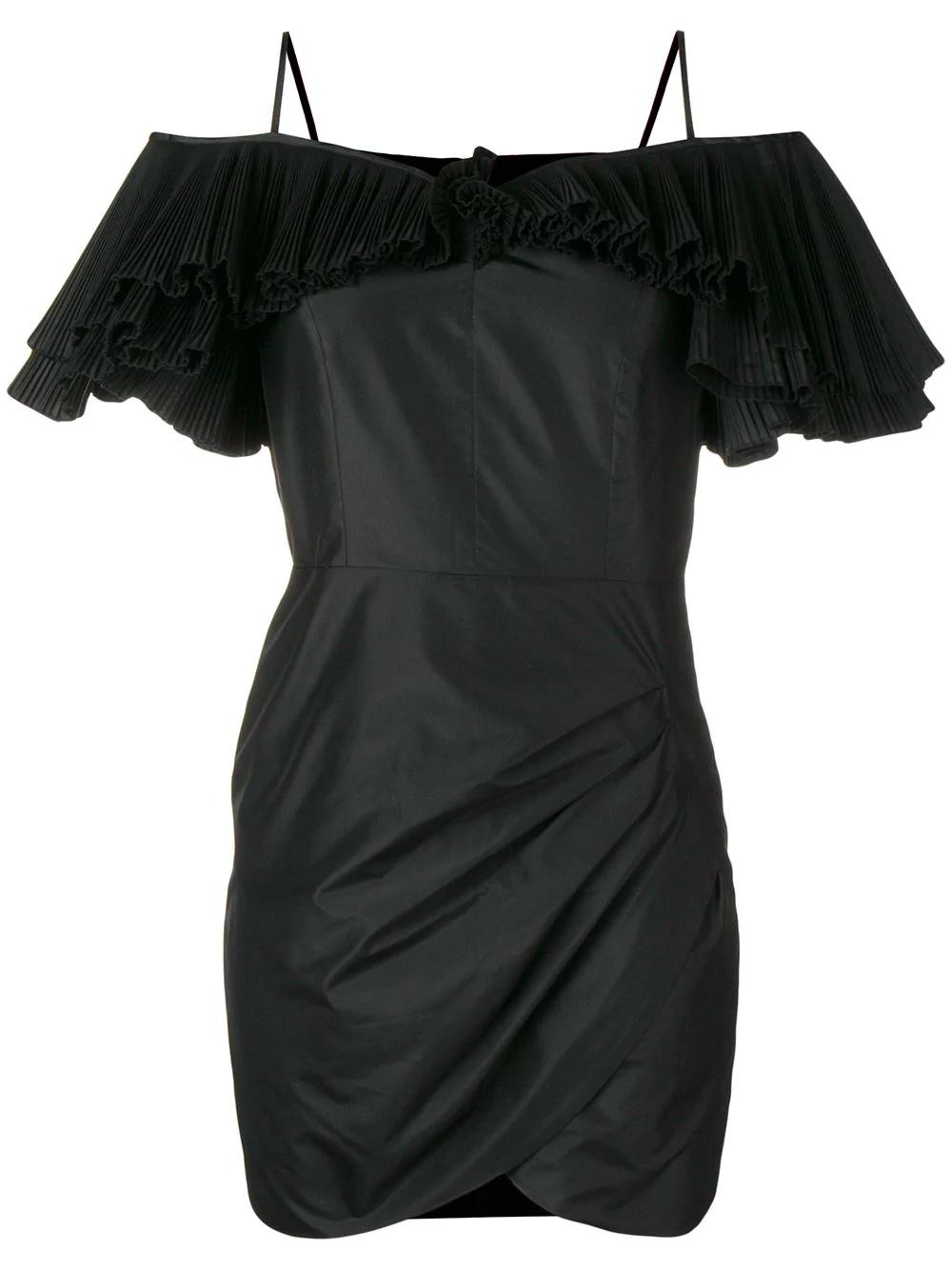 Alessandra Rich Silk Taffeta Butterfly Dress In Black