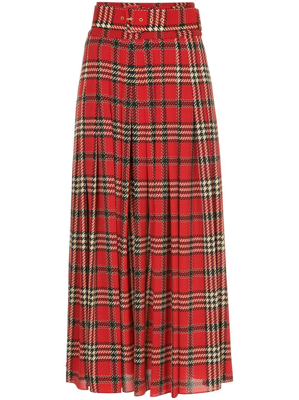 Emilia Wickstead Tartan Pleated Skirt In Red
