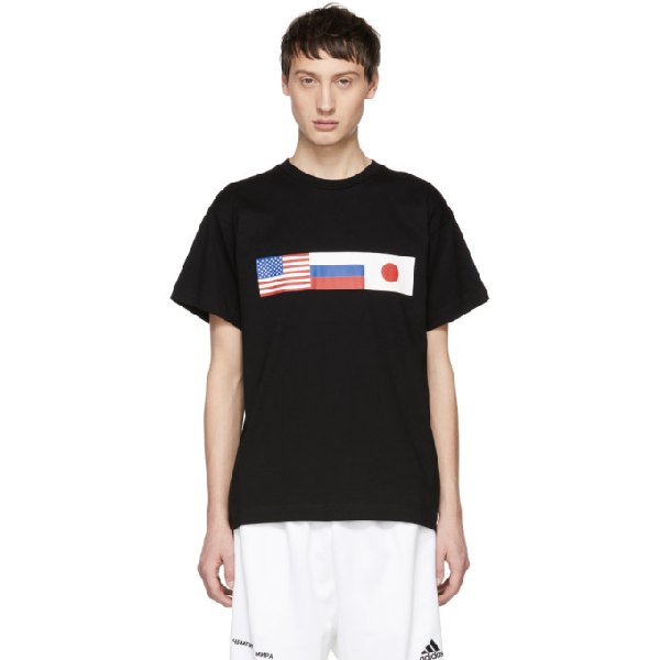 d5ce9f40f Gosha Rubchinskiy Black Cotton Flag T-Shirt | ModeSens