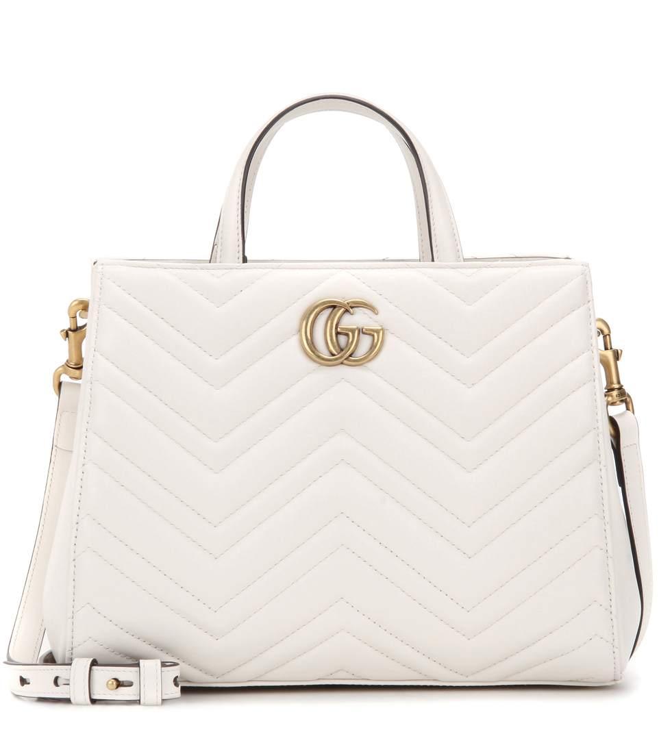 c0185f2de587 Gucci Gg Marmont Small MatelassÉ Top-Handle Bag, White | ModeSens