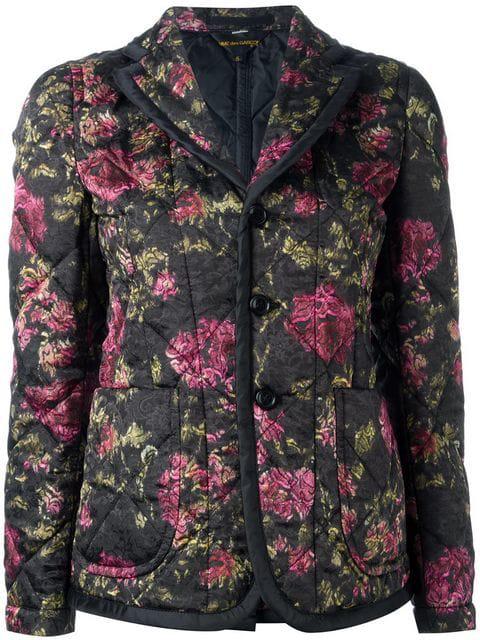 Comme Des GarÇOns Quilted Floral Jacket In Black