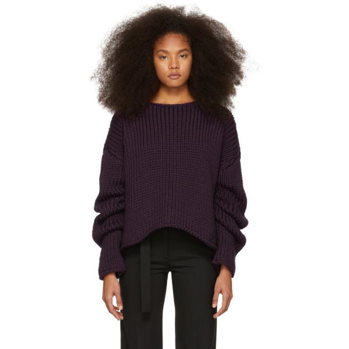 Yang Li Purple Hand-knitted Oversized Sweater In 80 Dk Purpl