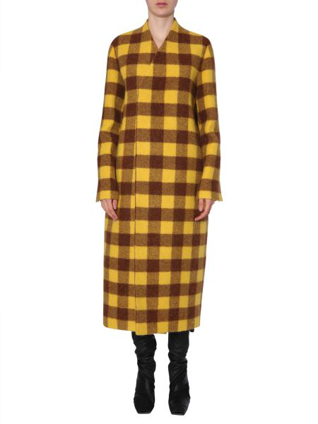 Rick Owens Long Coat In Yellow