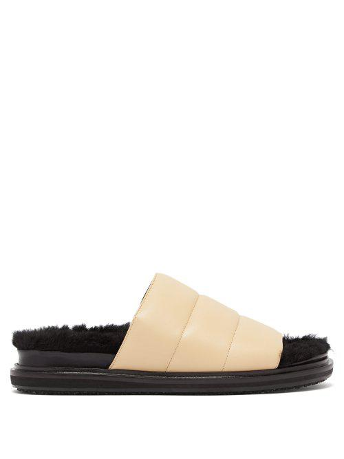 Marni Quilted-Leather Shearling-Lined Slides In Beige