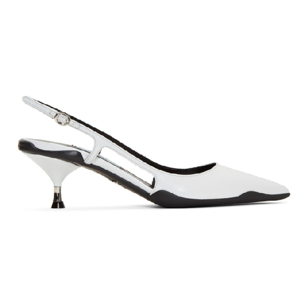 Prada Rubber-sole Slingback Leather Pumps In White