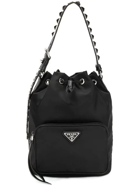 Prada Black Nylon Bucket Bag With Studding In F0002 Nero