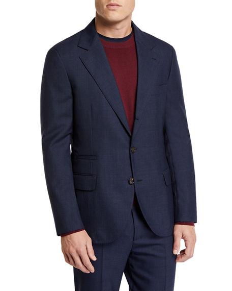 Brunello Cucinelli Men's Basic Rustic Wool Suit In Medium Gray