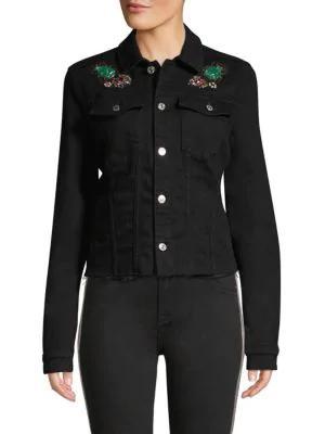 7 For All Mankind Embellished Denim Jacket In Black