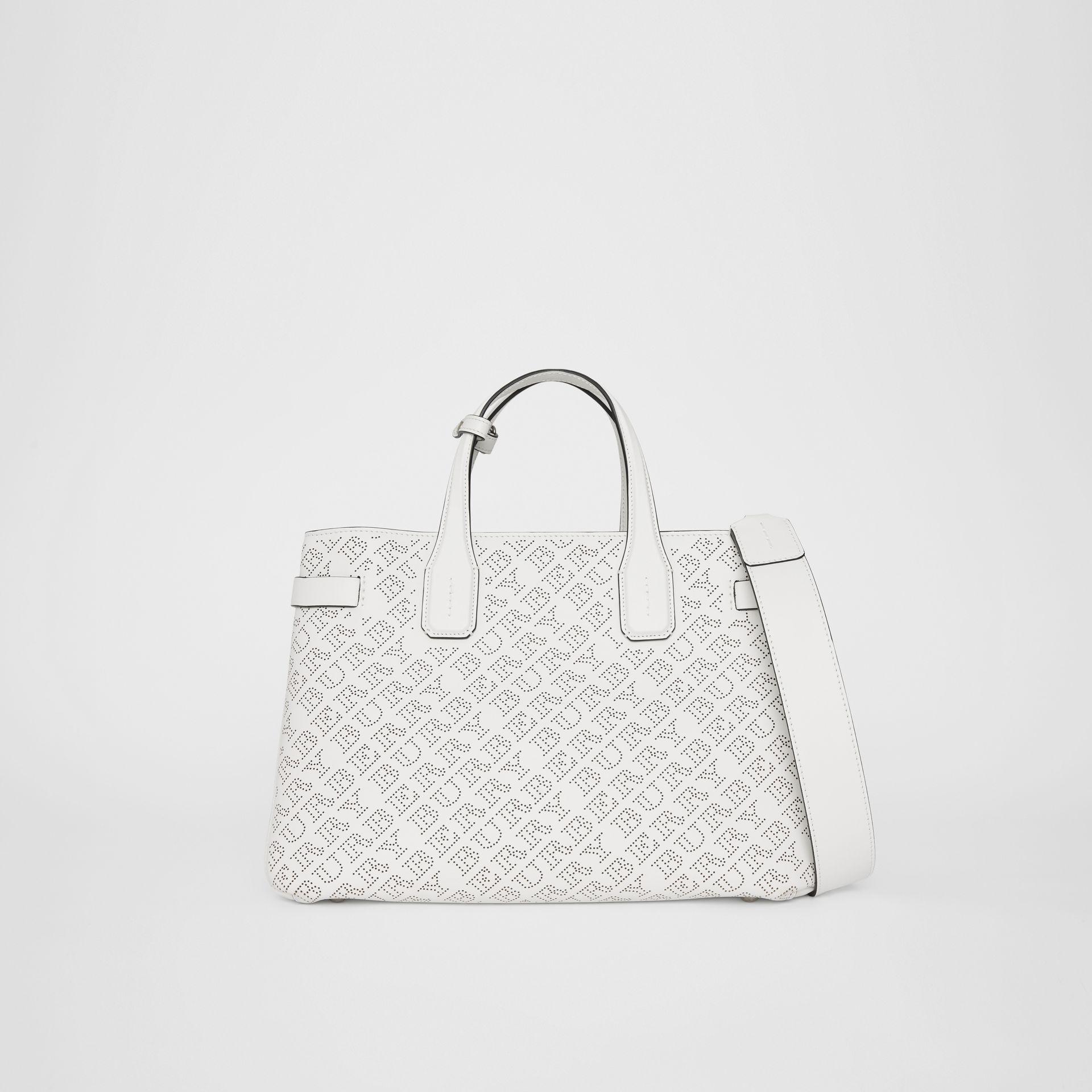 d89d6ea5c6ea Burberry The Medium Banner In Perforated Logo Leather In Chalk White ...