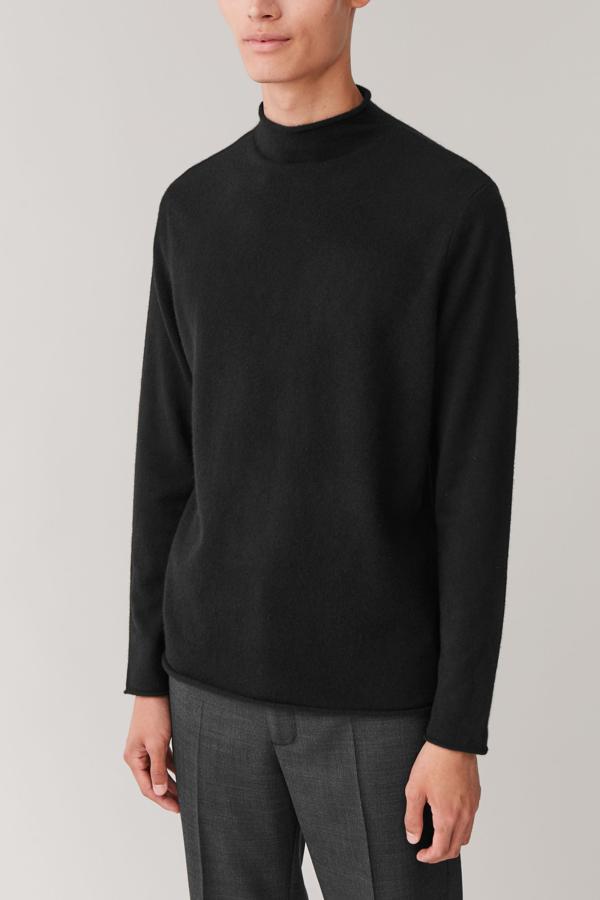 Cos Cashmere Mock-neck Jumper In Black